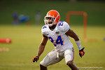 Florida Gator DB Brian Poole drops back into coverage during a practice drill.   August 8th, 2014. Gator Country photo by David Bowie.