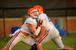 Florida Gator LB Matt Rolin practices during a blocking drill during open practice.  August 8th, 2014. Gator Country photo by David Bowie.