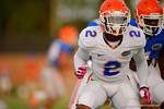 Florida DB Jabari Gorman shuffles during a practice drill.  August 8th, 2014. Gator Country photo by David Bowie.