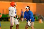 Florida Gator Head Coach Will Muschamp coaches up Florida freshman DB Duke Dawson during practice.  August 8th, 2014. Gator Country photo by David Bowie.