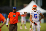 Florida Gator defensive backs coach Travaris Robinson coaches up Florida freshman DB Jalen Tabor and the rest of the defensive backs during practice.  August 8th, 2014. Gator Country photo by David Bowie.