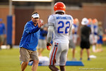 Florida Gator Head Coach Will Muschamp coaches up Florida DB Nick Washington during practice.  August 8th, 2014. Gator Country photo by David Bowie.