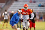 Florida Gator Head Coach Will Muschamp coaches up Florida DB Marcus Maye during practice.  August 8th, 2014. Gator Country photo by David Bowie.