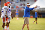 Florida Gator Head Coach Will Muschamp coaches up the defensive backs during practice.  August 8th, 2014. Gator Country photo by David Bowie.