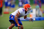 Florida Gator freshan DB Quincy Wilson shuffles during a defensive backs drill.  August 7th, 2014. Gator Country photo by David Bowie.