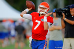 Florida Gator freshman QB Will Grier throws downfield during the Gators open practice.  August 7th, 2014. Gator Country photo by David Bowie.
