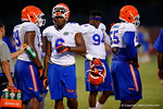 Florida Gator DL Dante Fowler, Jr. takes a breather during the Gators open practice.  August 7th, 2014. Gator Country photo by David Bowie.