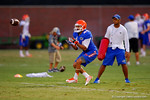 Florida WR Roger Dixon watches the ball in for the catch during a practice drill.  August 7th, 2014. Gator Country photo by David Bowie.