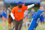Florida Gator defensive backs coach Travaris Robinson works with the defensive backs during practice.  August 7th, 2014. Gator Country photo by David Bowie.