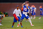 Florida Gator WR Ryan Parrish leaps into the air to make the catch during practice.  August 7th, 2014. Gator Country photo by David Bowie.