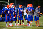 The Florida Gator quarterbacks prepare to start a drill during practice.  August 7th, 2014. Gator Country photo by David Bowie.
