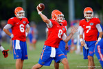 Florida QB Skyler Mornhinweg throws downfield during a practice drill.  August 7th, 2014. Gator Country photo by David Bowie.