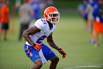 Florida Gator DB Deiondre Porter shuffles during a defensive backs drill.  August 7th, 2014. Gator Country photo by David Bowie.