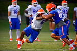 Florida  Gator DL Dante Fowler, Jr. tries to break free of a block during practice.  August 7th, 2014. Gator Country photo by David Bowie.