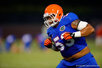 Florida Gator OL Kavaris Harkless during a blocking drill at practice.  August 7th, 2014. Gator Country photo by David Bowie.