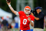 Florida QB Skyler Mornhinweg throws downfield during the Gators open practice.  August 7th, 2014. Gator Country photo by David Bowie.