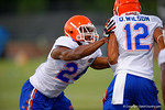 Florida Gator defensive backs Brian Poole and Quincy Wilson compete in a practice drill.  August 7th, 2014. Gator Country photo by David Bowie.