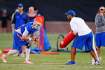 Florida WR Ryan Parrish lines up against Gator coach Chris leak during a practice drill.  August 7th, 2014. Gator Country photo by David Bowie.