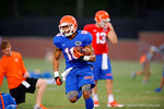 Florida Gator WR Valdez Showers sprints downfield following a catch during practice.  August 7th, 2014. Gator Country photo by David Bowie.