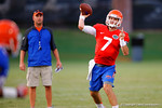 Florida freshman QB Will Grier throws downfield during a practice drill.  August 7th, 2014. Gator Country photo by David Bowie.