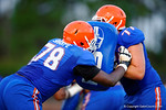 Florida Gator offensive linemen David Sharpe and Mike Andrew compete in a drill during practice.  August 7th, 2014. Gator Country photo by David Bowie.