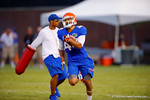 Florida Gator WR Roger Dixon sprints downfield during a practice drill.  August 7th, 2014. Gator Country photo by David Bowie.