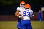 Florida defensive linemen Bryan Cox Jr. and Taven Bryan compete during a drill at practice.  August 7th, 2014. Gator Country photo by David Bowie.