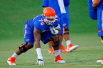Florida OL Chaz Green gets set for the whistle to start a drill during the Gators open practice.  August 7th, 2014. Gator Country photo by David Bowie.