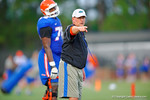Gator offensive line coach Mike Summers coaches up the offensive line during practice.  August 7th, 2014. Gator Country photo by David Bowie.