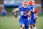 Florida Gator TE Jake McGee sprints downfield during a practice drill.  August 7th, 2014. Gator Country photo by David Bowie.