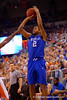 Kentucky Wildcats guard Aaron Harrison takes a three point shot attempt during the second half.  Florida Gators vs Kentucky Wildcats.  February 7th, 2015. Gator Country photo by David Bowie.