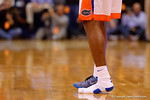 Florida Gators guard Michael Frazier II lost his shoe and played the next two trips up and down the court with just one shoe and a sock.  Florida Gators vs Kentucky Wildcats.  February 7th, 2015. Gator Country photo by David Bowie.