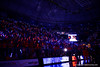 The Stephen C. O'Connell Center is lit up during player introductions by the fans holding light sticks handed out for the game.  Florida Gators vs Kentucky Wildcats.  February 7th, 2015. Gator Country photo by David Bowie.