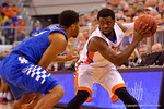 Florida Gators guard Eli Carter looks to drive on Kentucky Wildcats guard Andrew Harrison during the first half.  Florida Gators vs Kentucky Wildcats.  February 7th, 2015. Gator Country photo by David Bowie.