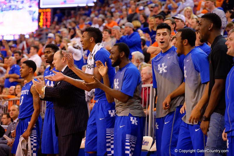 The Kentucky bench celebrates the dunk by Kentucky Wildcats forward Willie Cauley-Stein during the second half.  Florida Gators vs Kentucky Wildcats.  February 7th, 2015. Gator Country photo by David Bowie.