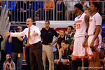 Florida Gators head coach Billy Donovan yelling from the sidelines in the second half.  Florida Gators vs Kentucky Wildcats.  February 7th, 2015. Gator Country photo by David Bowie.