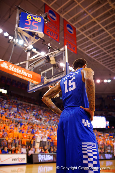 Kentucky Wildcats forward Willie Cauley-Stein waits for play to resume during the first half.  Florida Gators vs Kentucky Wildcats.  February 7th, 2015. Gator Country photo by David Bowie.