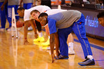 Florida Gators guard Michael Frazier II stretches before the start of the game against the Wildcats.  Florida Gators vs Kentucky Wildcats.  February 7th, 2015. Gator Country photo by David Bowie.
