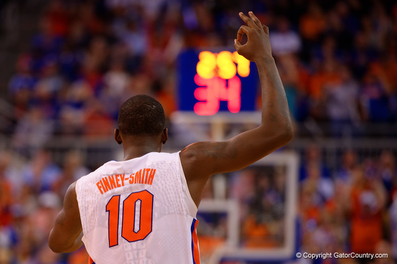Florida Gators forward Dorian Finney-Smith after hitting a three pointer in the second half.  Florida Gators vs Kentucky Wildcats.  February 7th, 2015. Gator Country photo by David Bowie.