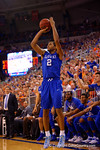 Kentucky Wildcats guard Aaron Harrison with a three pointer during the second half.  Florida Gators vs Kentucky Wildcats.  February 7th, 2015. Gator Country photo by David Bowie.