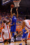 Kentucky Wildcats forward Willie Cauley-Stein shoots during the second half over Florida Gators forward Dorian Finney-SmithFlorida Gators vs Kentucky Wildcats.  February 7th, 2015. Gator Country photo by David Bowie.