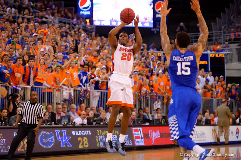 Florida Gators guard Michael Frazier II makes another three pointer during the first half.  Florida Gators vs Kentucky Wildcats.  February 7th, 2015. Gator Country photo by David Bowie.