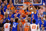 Kentucky Wildcats forward Willie Cauley-Stein with a dunk during the first half.  Florida Gators vs Kentucky Wildcats.  February 7th, 2015. Gator Country photo by David Bowie.