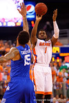 Florida Gators guard Eli Carter takes a three point shot during the first half.  Florida Gators vs Kentucky Wildcats.  February 7th, 2015. Gator Country photo by David Bowie.