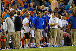 Florida Gators Head Coach Will Muschamp watches on from the sideline during the fourth quarter as the fans start a Fire Muschamp chant.  Florida Gators vs Missouri Tigers.  October 18th, 2014. Gator Country photo by David Bowie.