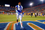 Florida Gators defensive lineman Dante Fowler, Jr. walks off the field following the loss to Missouri 42-17.  Florida Gators vs Missouri Tigers.  October 18th, 2014. Gator Country photo by David Bowie.