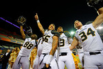 Missouri Tigers Jimmie Hunt(88), Shane Ray(56), Corbin Berkstresser(13) and Joey Burkett(34) celebrate following their win.  Florida Gators vs Missouri Tigers.  October 18th, 2014. Gator Country photo by David Bowie.