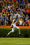 Missouri Tigers lineback Michael Scherer celebrates after taking the ball into the endzone during the first quarter.  Florida Gators vs Missouri Tigers.  October 18th, 2014. Gator Country photo by David Bowie.