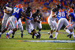 Missouri Tigers tailback Russell Hansbrough rushes through the open hole during the second quarter.  Florida Gators vs Missouri Tigers.  October 18th, 2014. Gator Country photo by David Bowie.