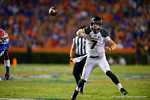 Missouri Tigers quarterback Maty Mauk throws downfield on the run during the second quarter.  Florida Gators vs Missouri Tigers.  October 18th, 2014. Gator Country photo by David Bowie.